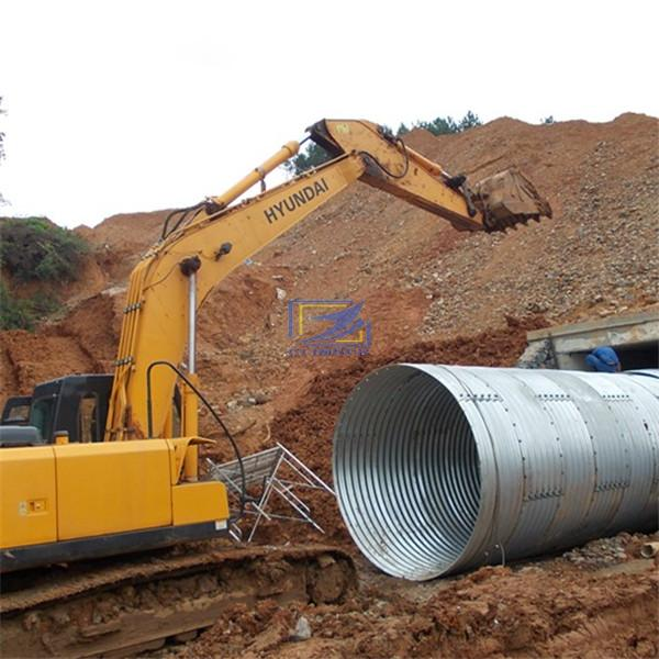 Large diameter corrugated steel culvert pipe in the high