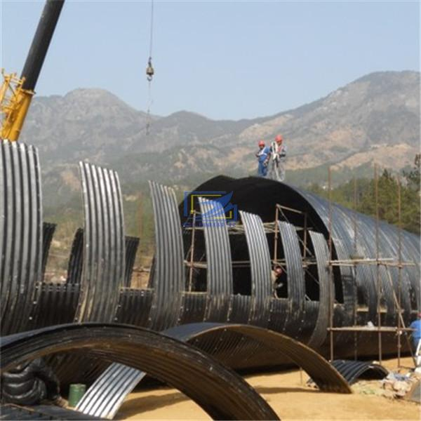 Assemble the big arch corrugated metal culvert pipe