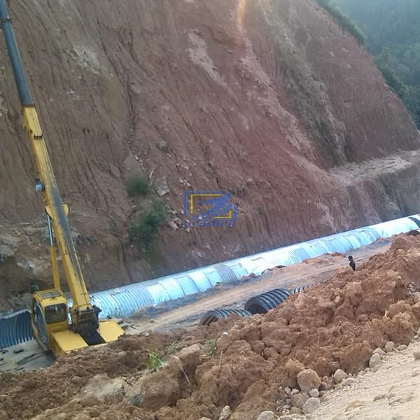 install the corrugated steel culvert pipe on site