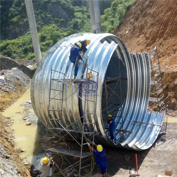 culvert assembled by corrugated galvanized steel plate