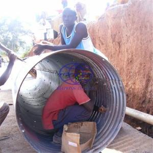 corrugated steel culvert pipe assembled by two half round part