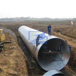 hot galvanzied corrugated steel pipe used as culvert , underpass