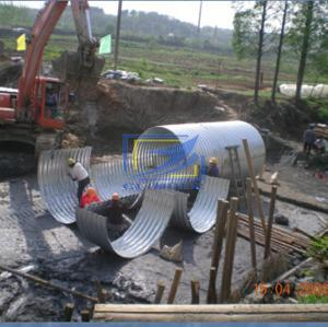 galvanzied corrugated steel culvert pipe assembled by half round structural plate